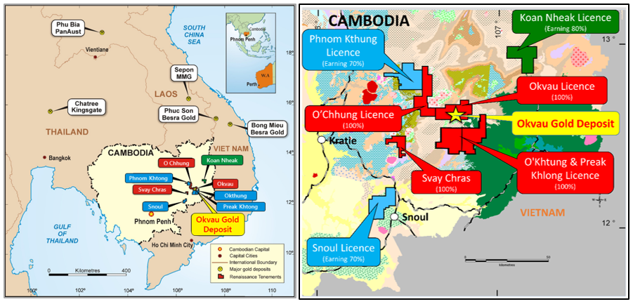 Cambodian Gold Project | Location & Cambodian Gold Project | Exploration Licence Areas