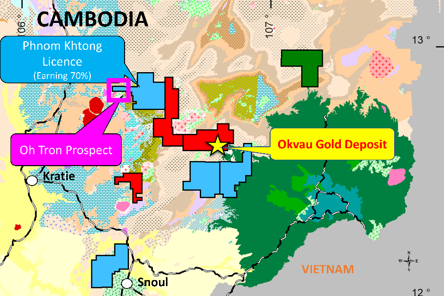 Figure 6 | Cambodian Gold Project - Exploration Licence Area for Phnom Khtong Licence and Oh Tron Prospect