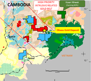 Figure 1 | Cambodian Gold Project - Exploration Licence Areas